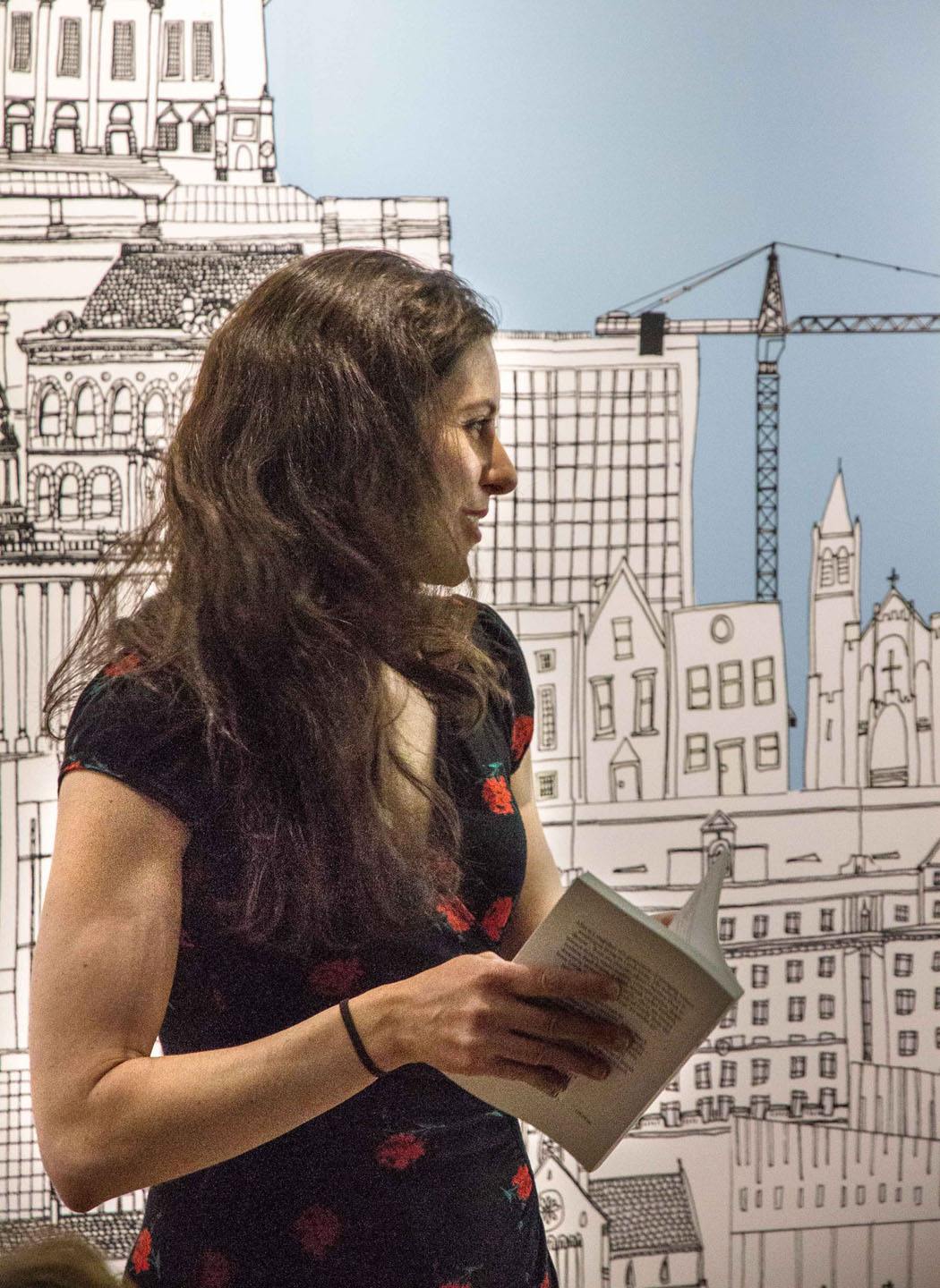 Cristina Archetti reading 'Distances' at the LS13 launch in June 2013. Photo by Steve Evans