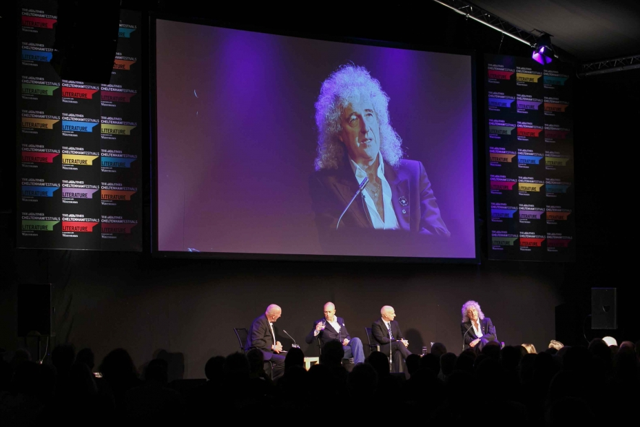 Brian May at the hugely popular Southern literature festival in Cheltenham.  Photo by mcphersonstevens.com.
