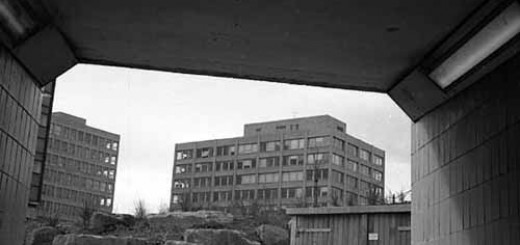 Leeds Polytechnic buildings from an underpass, 1970s ©Leeds Library and Information Service, courtesy of Stephen Howden