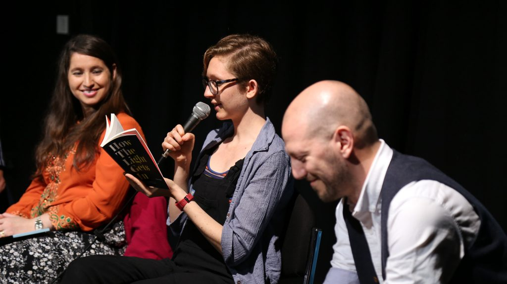 Photograph by Izzy Brittle taken at the Northern Short Story Festival 2018. L-R: C.G. Menon, Clare Fisher and Kit Caless.