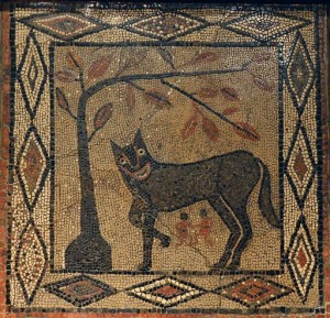 Mosaic depicting the She-wolf with Romulus and Remus, from Aldborough, about 300-400 AD ©Leeds Museums & Galleries