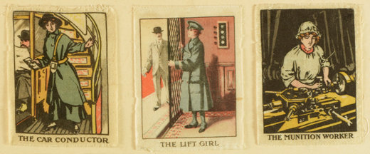 Cards showing women doing war work from the Liddle Collection